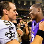 Teddy Bridgewater shares words with Drew Brees after last week's game. Bridgewater was thrust in midway through the game after Matt Cassel broke his foot.