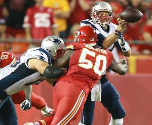 Justin Houston sacking Patriots QB Tom Brady after beating OT Sebastian Vollmer with a power move. Houston had 2 sacks on the night.